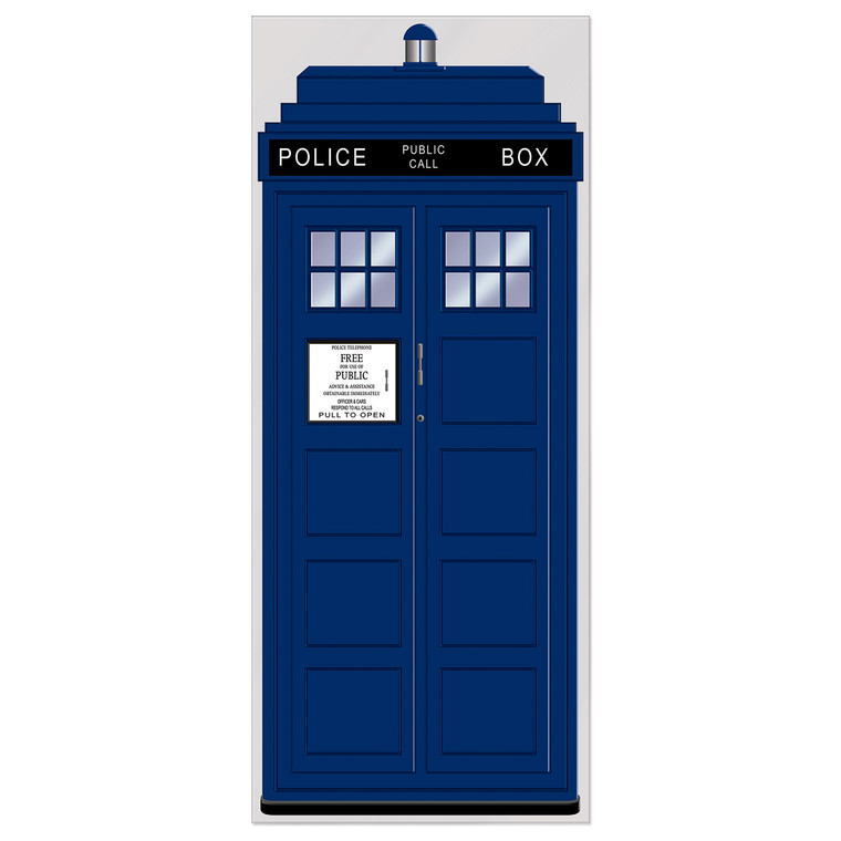 Dr Who Police Call Box Plastic Door/Wall Panel Cover Birthday Party Decoration