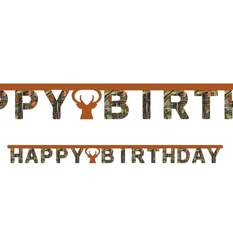 """Camo Deer Hunter """"Happy Birthday"""" Banner Hunting Outdoors Party Decorations"""