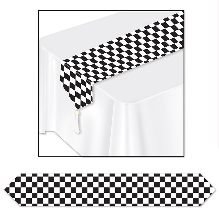 Black & White Checkered Table Runner - 50's Party Racing Birthday Decoration