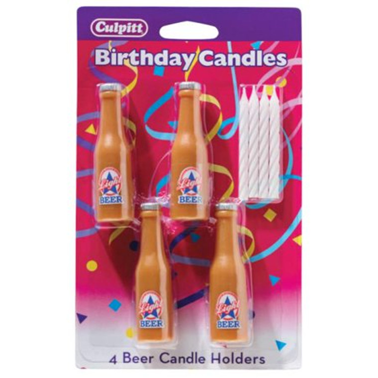 4 BEER BOTTLE CANDLE HOLDERS BIRTHDAY CAKE Cupcake Decorations