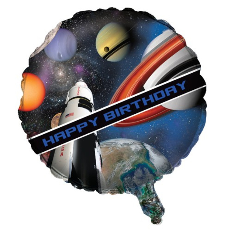"""Space Ship  OUTER SPACE Planets 18"""" Mylar Birthday Party Balloon"""