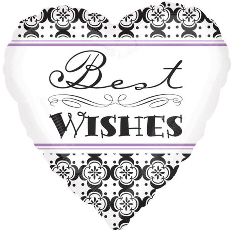 Damask BEST WISHES Elegant Hearts Black White Wedding Party Balloon