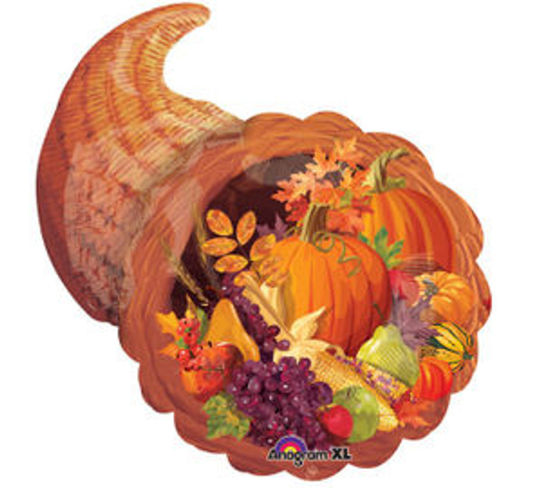 Thanksgiving Fall Autumn CORNUCOPIA Pumpkin Horn Grapes Party Decoration Balloon