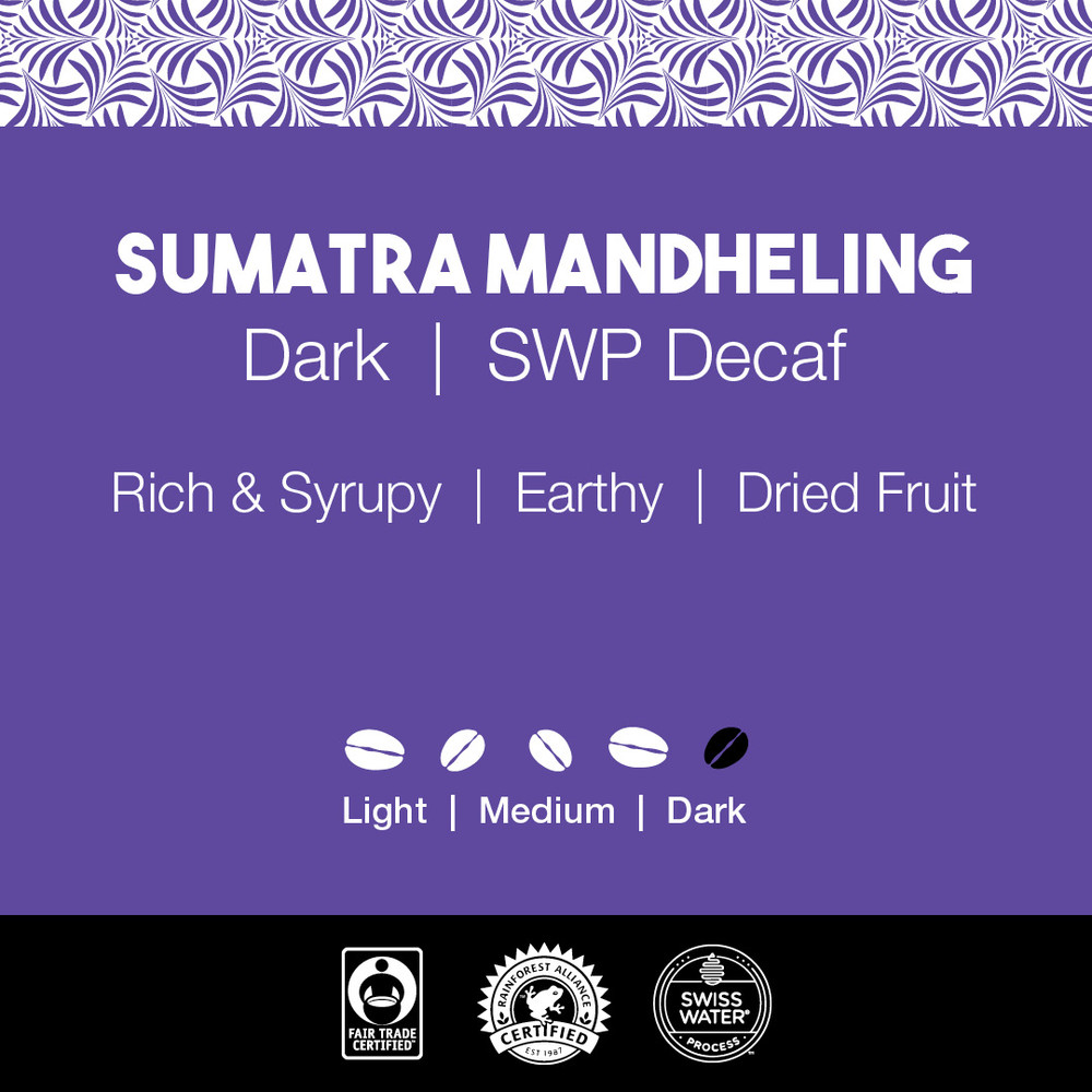Sumatra Mandheling Coffee – Dark Roast  |  SWP Decaf
