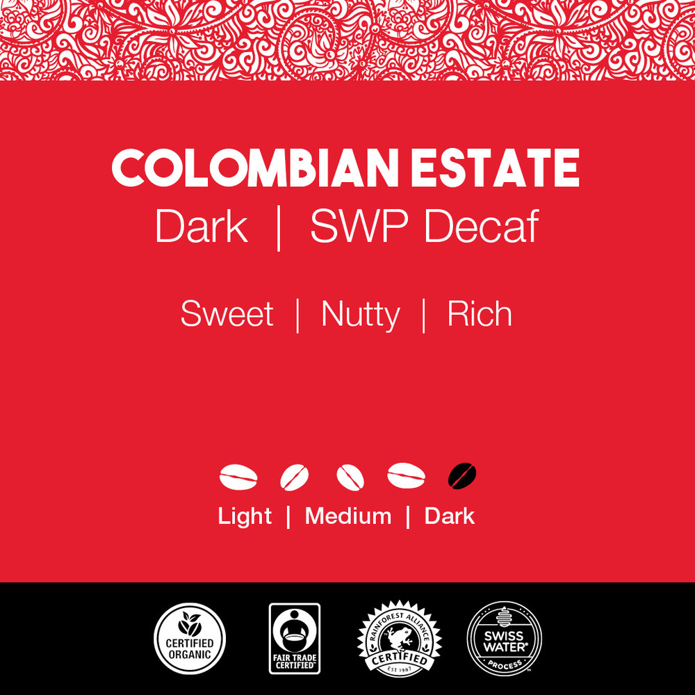 Colombian Estate Coffee – Dark Roast  |  SWP Decaf