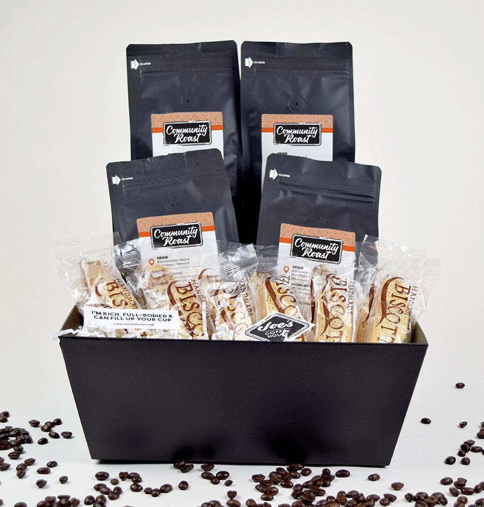 4# Community Roast Coffee, 12  Almond Biscotti. A few of Joe's exclusive stickers all packed in a black tray.