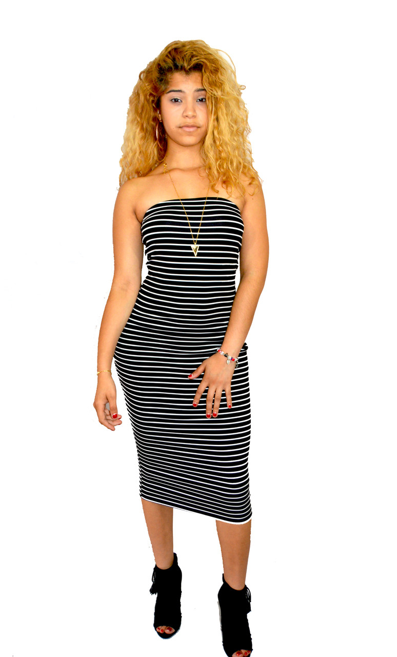 Super Cute Black & White Striped Strapless Tube Dress
