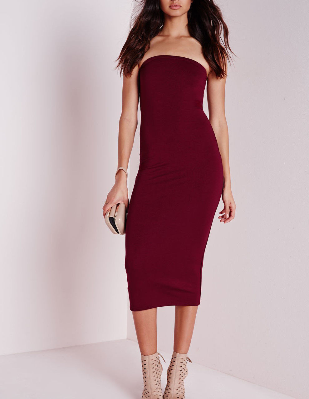 ff26f0cec3b6 Burgundy Tube Midi Bodycon Dress - BZ Fashions