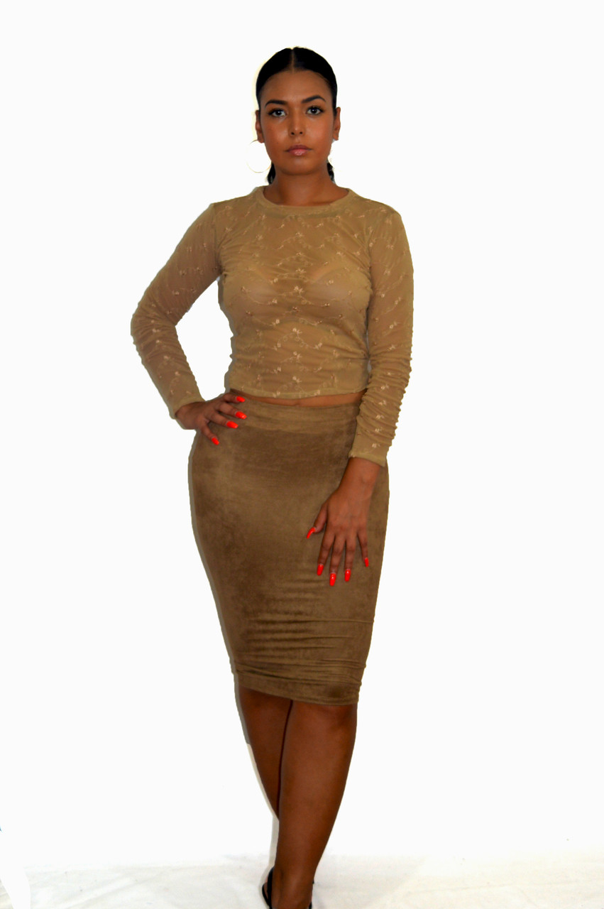 152038ed8 BZ Fashions Nude Brown Faux Suede Pencil Skirt | Bz Fashions