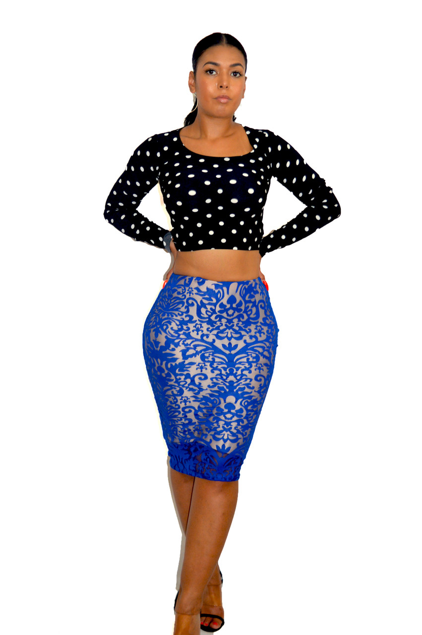 d8a07c1dd5a Royal Blue   Champagne Lace Overlay Pencil Skirt