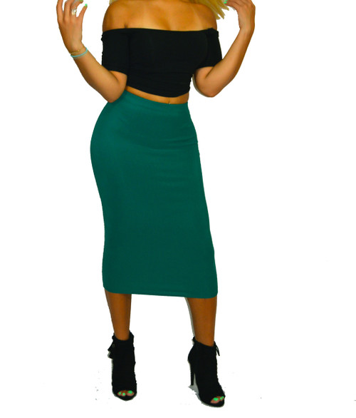 Super Cute Deep Jade Midi Pencil Skirt
