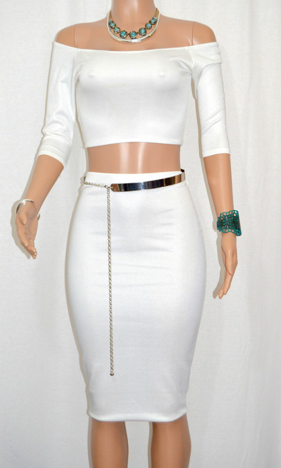 Super Cute Off White Silver Flecked Midi Pencil Skirt & 3/4 Sleeve Crop Top Set