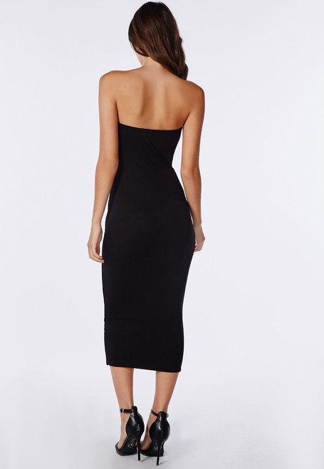 b83fa99690a Black Tube Midi Bodycon Dress - BZ Fashions