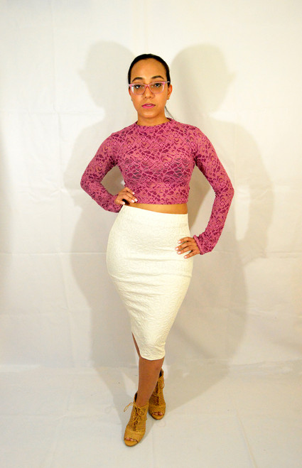 Ivory Pencil Skirt paired with our Pink Lace Top