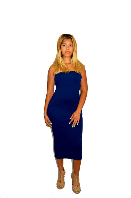 Gorgeous Blue Tube Midi Bodycon Dress