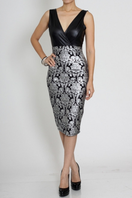 Classy/Sexy Black Faux Leather & Silver Dress