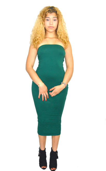Evergreen Tube Midi Dress