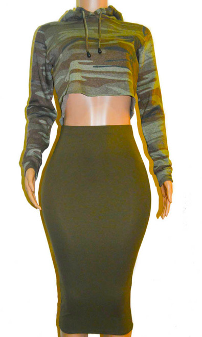 b5c4889c7b2 ... Olive Green Ponte Pencil Midi Skirt ...