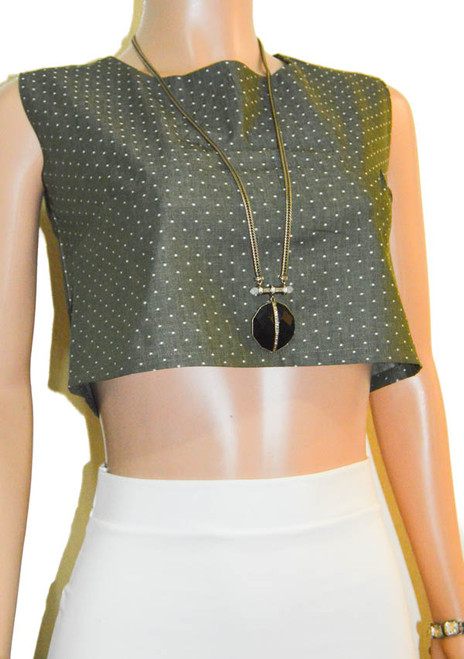 Olive Green Dots Chambray Crop Top