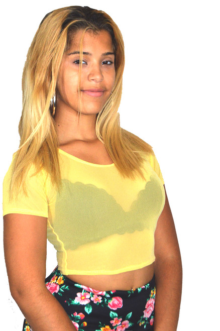 Yellow Mesh Crop Top