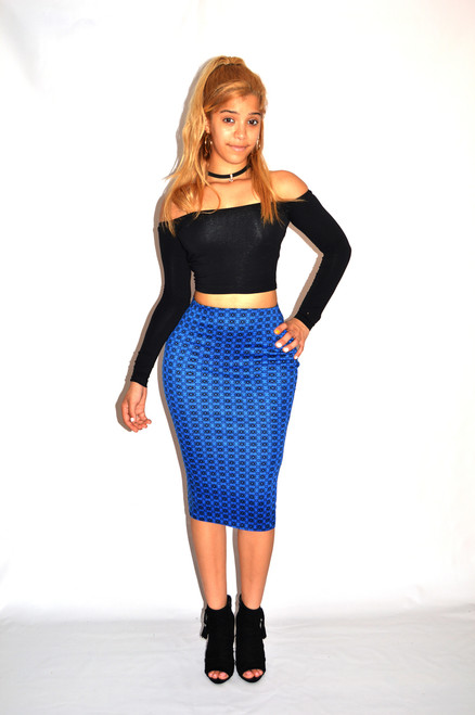 Blue and Black Circle Geometric Pencil Midi Skirt  paired with our off the shoulder top