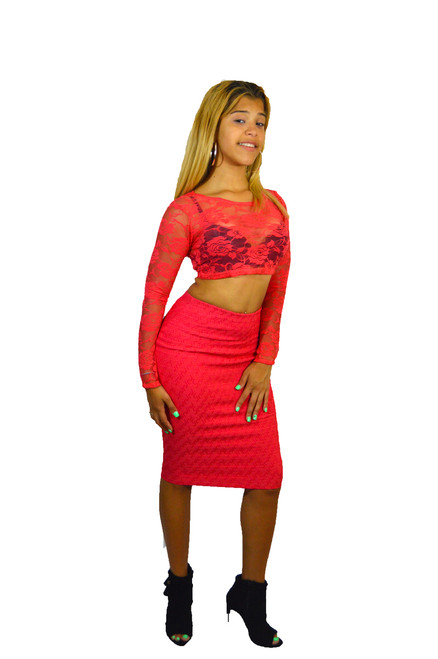Coral Pink Double Knit Skirt