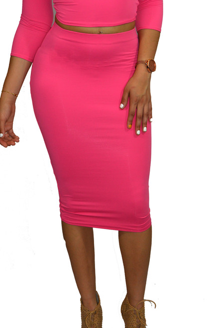Calypso Coral Pink Pencil Midi Skirt Set