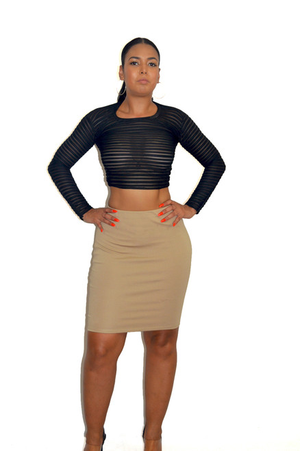 Tan Ponte Knit Skirt