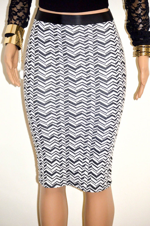 Black & White Faux Leather Trimmed Pencil Skirt