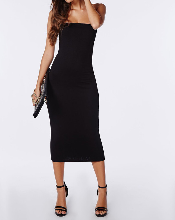 Black Tube Midi Bodycon Dress