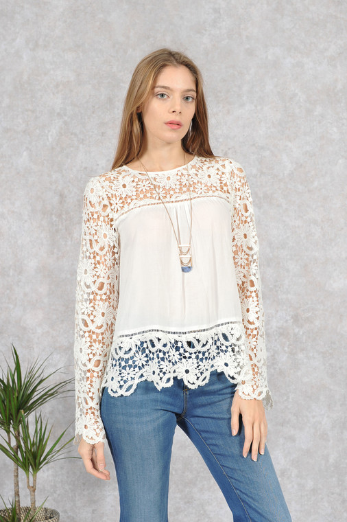 Off White Boho Lace Detail Long Sleeve Top