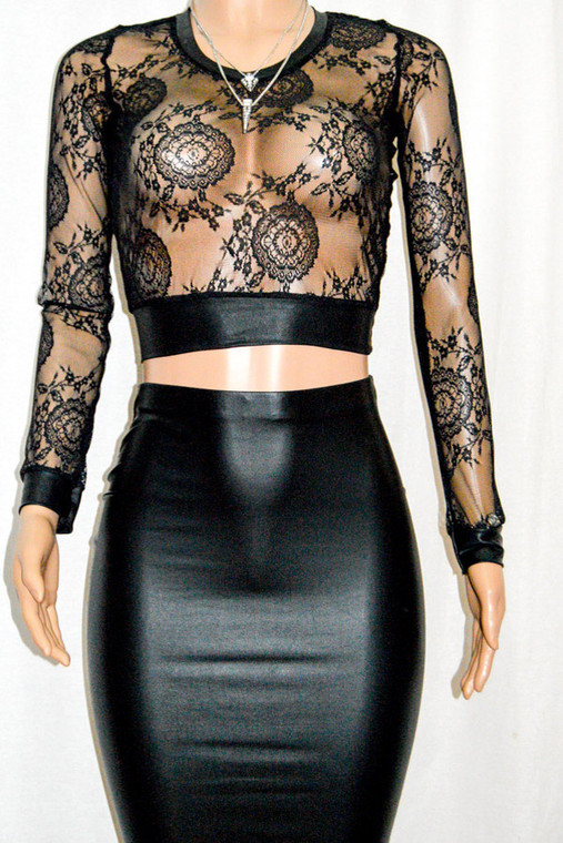 Black lace Cropped Top with Faux Leather Trimmings