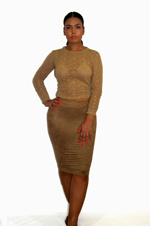 BZ Fashions Nude Brown Faux Suede Pencil Skirt
