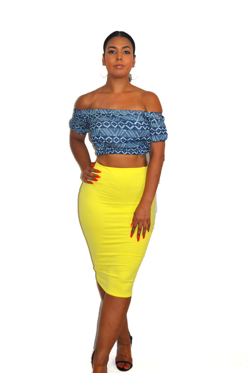 Women's yellow Pencil Skirt