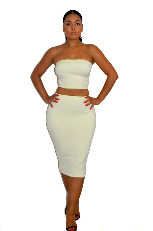 Ivory Off White Pencil Skirt & Crop Top Set