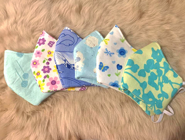 Face Mask Unisex Floral Cotton Fabric 3 Layers  - Washable - Reusable Face Mask- Made in USA- Free US Shipping