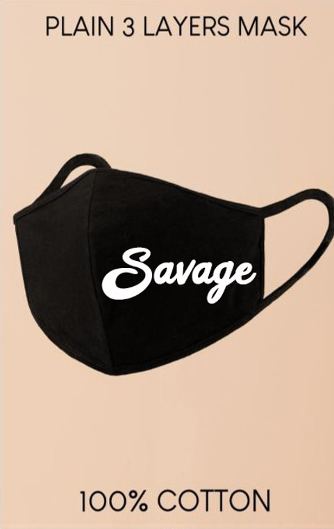 """Black """"Savage"""" Reusable Washable Cotton Face mask  - 3 Layers Face Covering"""