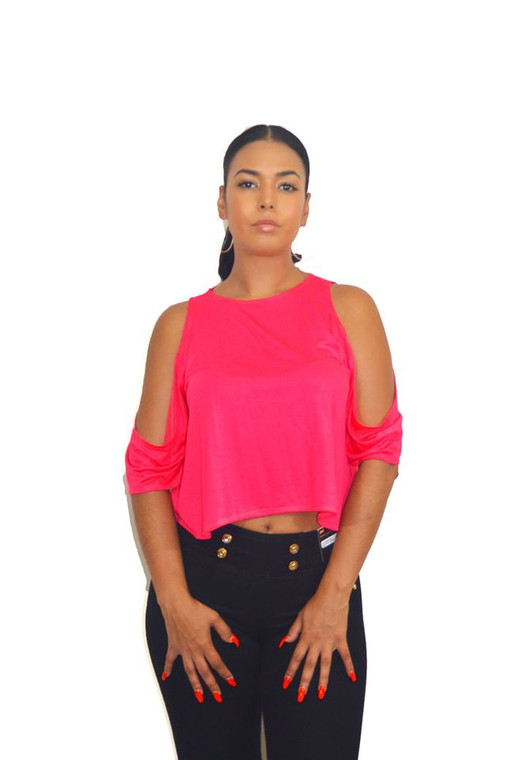 Coral Pink Open Sleeve Loose Fit Top