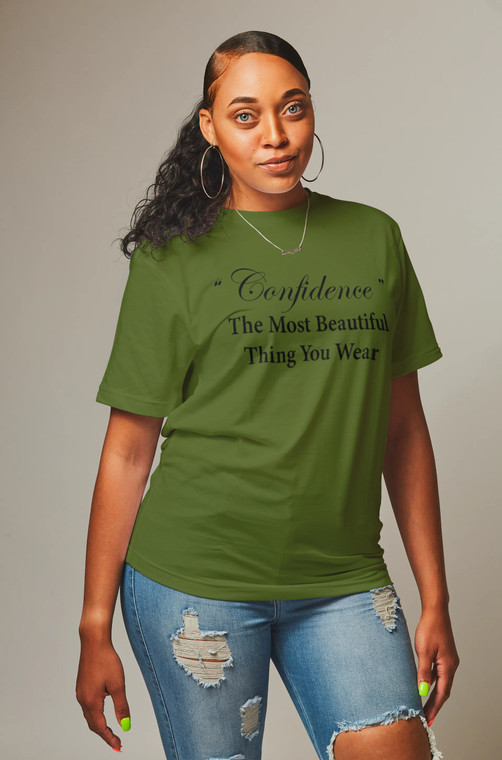 Army Green Confidence Graphic Women's T-shirt