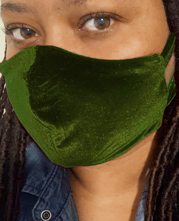 Olive Green Velvet Face Mask face mask with filter pocket - Double Layered - Machine Washable - Reusable Face Mask- Made in USA- Free US Shipping