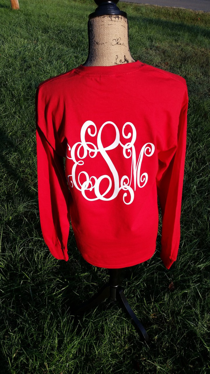 a57aaf02f184 Monogrammed Shirt - Christmas Colors - Front and Back Personalization -  Tshirt - Long Sleeve Tee - Hoodie - Make it Personal by MM