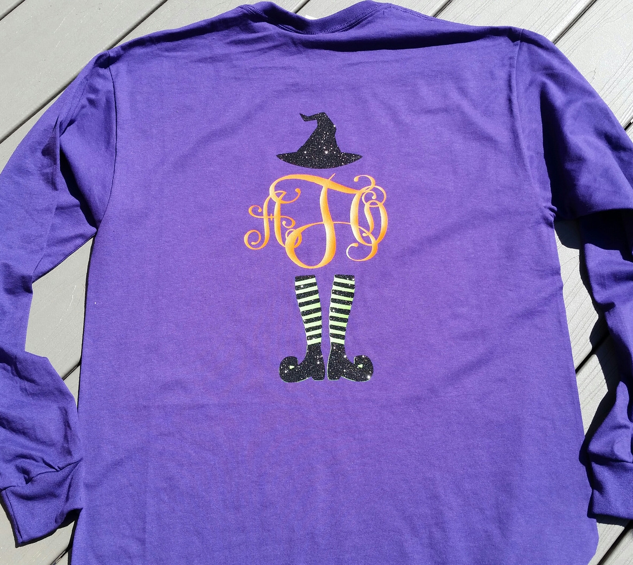 2eb8a7daaeb Halloween Witch Monogrammed Shirt - Trick or Treat Shirt - Front and Back  Personalization - Tshirt - Long Sleeve Tee - Hoodie - Make it Personal by MM