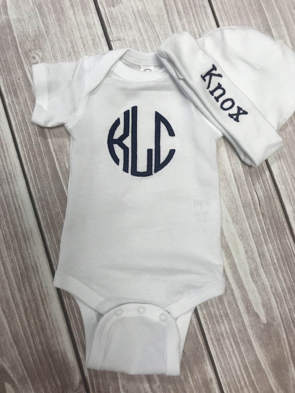 3cc6e560a0257 Personalized Baby Onesie and Hat