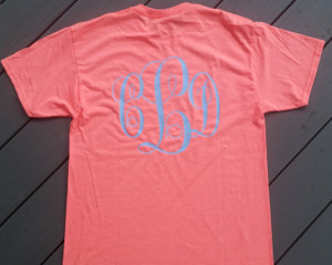 Monogrammed Front and Back T-shirts Spring Summer Colors  - Personalized