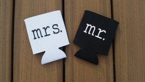 Mr. and Mrs. Wedding Drink Holder Personalized.  Black and White.