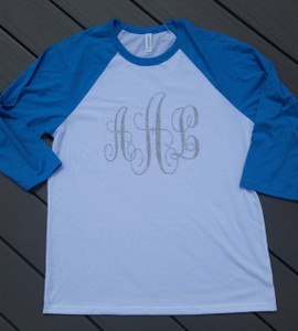 Monogrammed Baseball Henley - 3/4 Length sleeves - Personalized