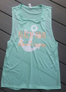 Muscle Tank - Beach Hair Don't Care with Anchor - Womens Tank Top