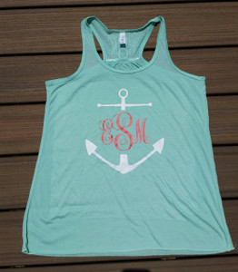 Anchor Monogram Racerback Tank - Personalized - front and back monogram