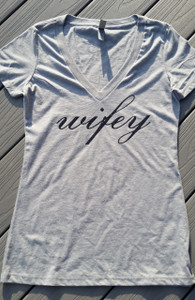 Wifey - Fitted Womens Vneck Tee
