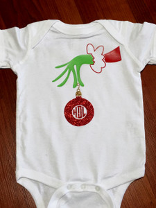 Christmas Grinch Monogram - Onesie - Tshirt - Long Sleeve - Infant - Youth - Adult - Christmas Shirt